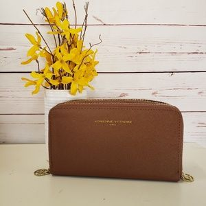 Adrienne vittadini brown leather wallet new